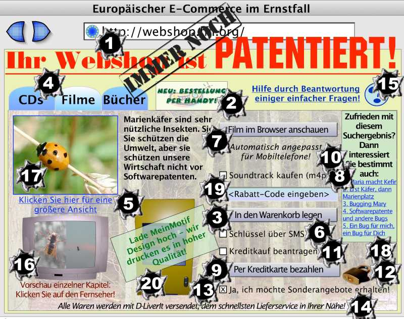 Image of webshop with all elements and processes covered by a granted European patent indicated with a number